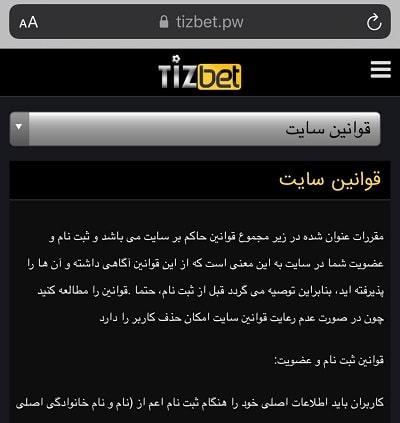 بخش راهنمای سایت Tizbet